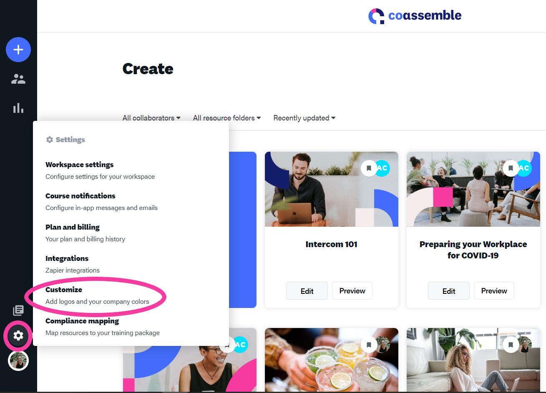 online training platform customization settings