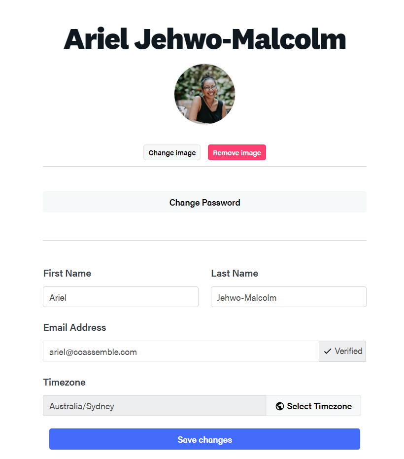 profile settings for an online training platform