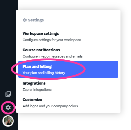 How to find billing options for an online training platform
