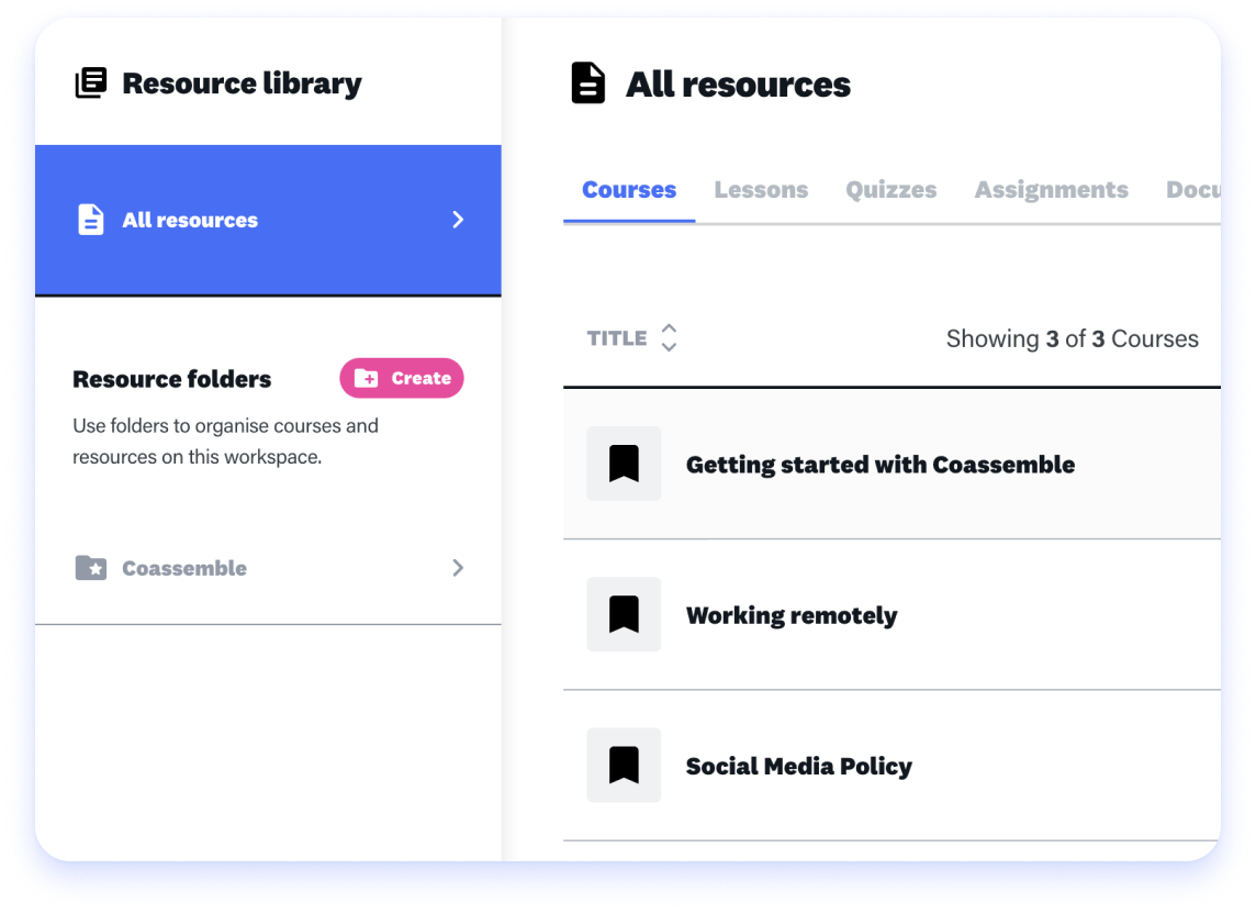 resource library for an online training platform